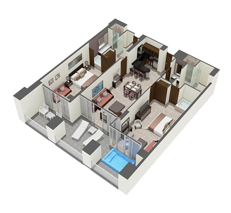 Layout for two Bedroom Mater Suite