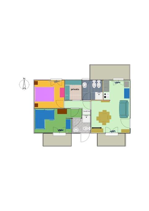 L'esatta disposizione interna dell'alloggio