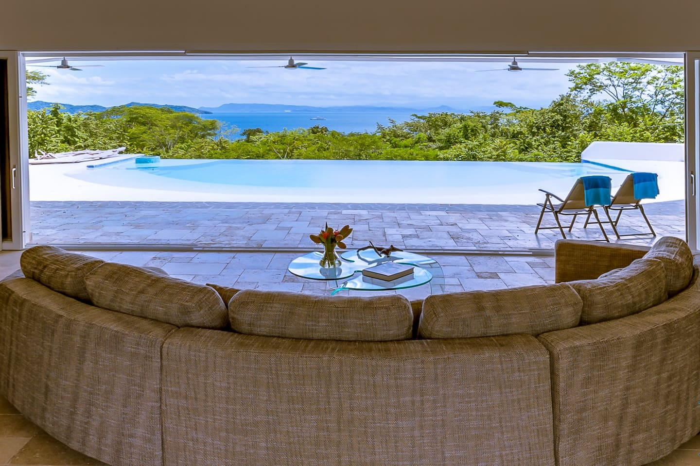 Living Area with sliding doors and stunning view
