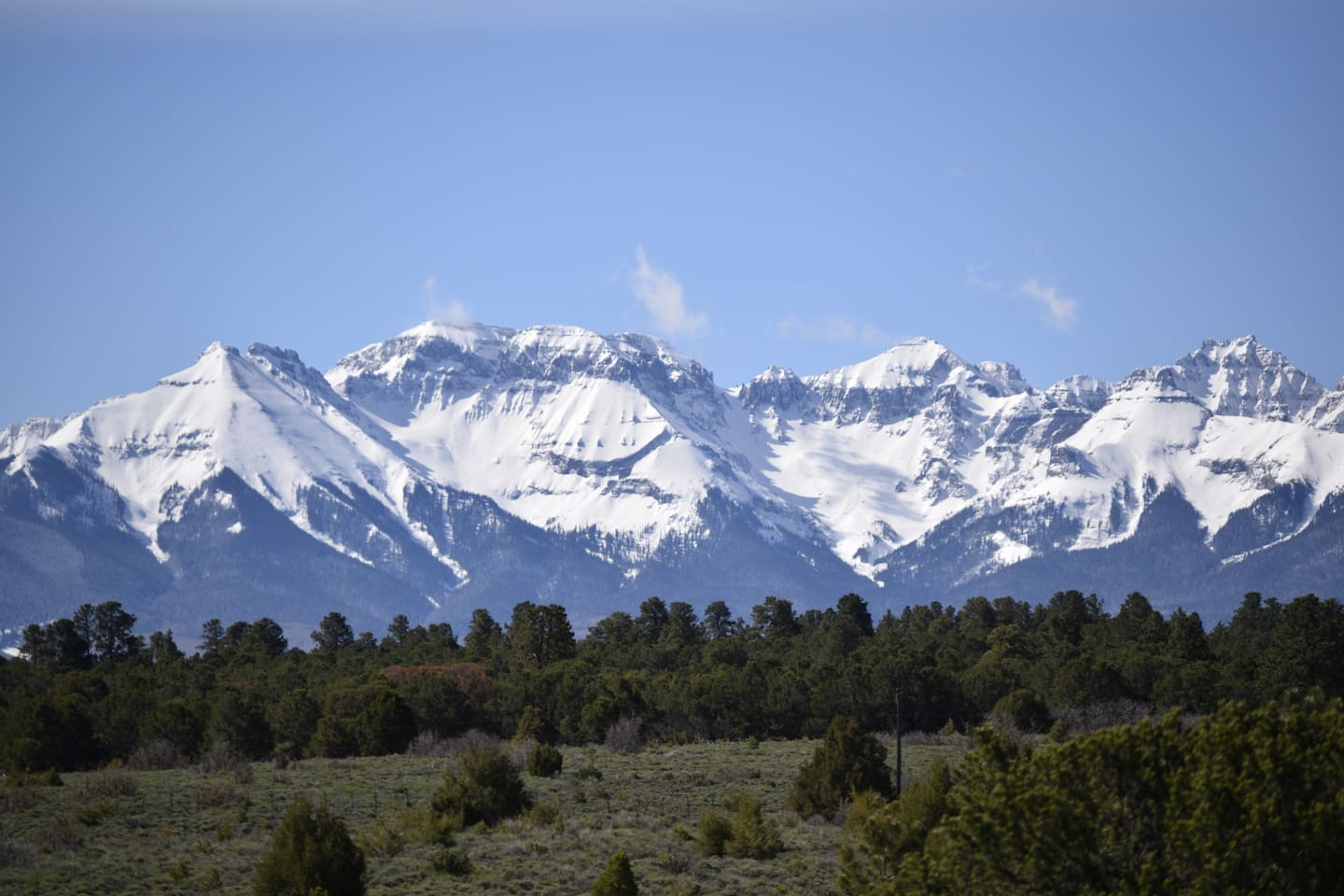 Unobstructed views of the San Juan Mountains from the house deck.  Alpenglow rental features a private deck with these amazing views!