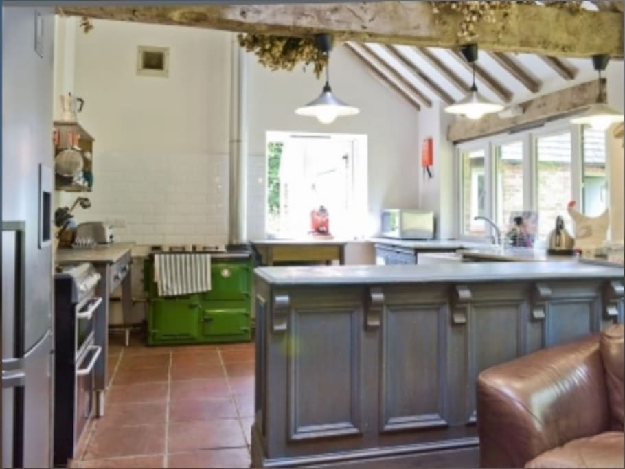 Massive kitchen/breakfast room with Rayburn, double electric ovens, dishwasher, fridge and fridge freezer