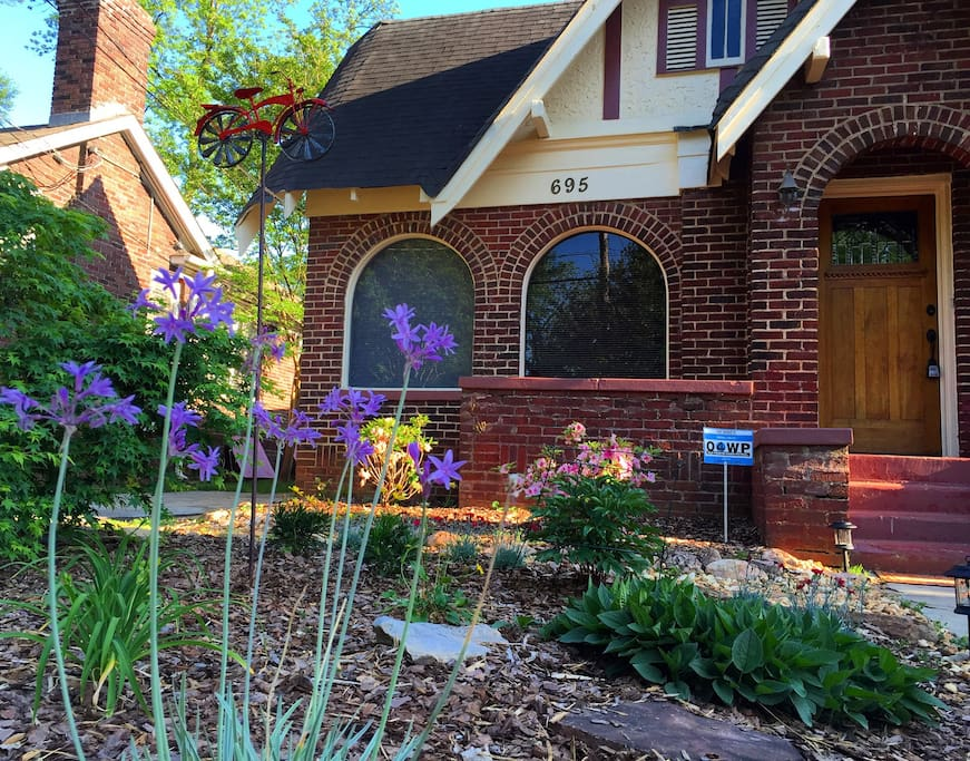 The beautiful garden greets you as you walk to the Beltline cottage
