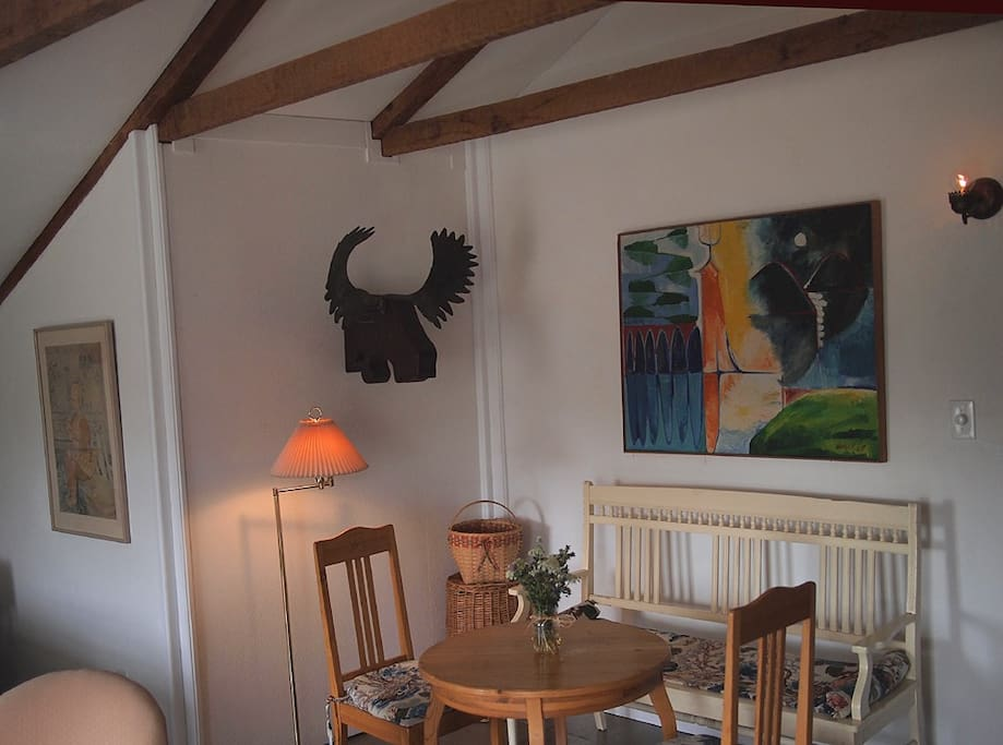 'East Room' nook, overseen by our own hand-wrought Moose Head (we call him 'Moozart'), along with lovely Swedish furnishings.