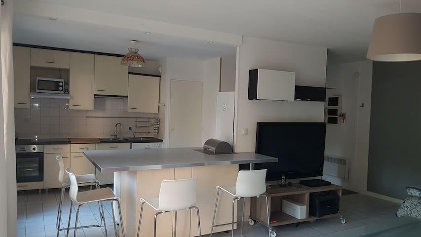 vue cuisine ouverte sur séjour et terrasse surélevée