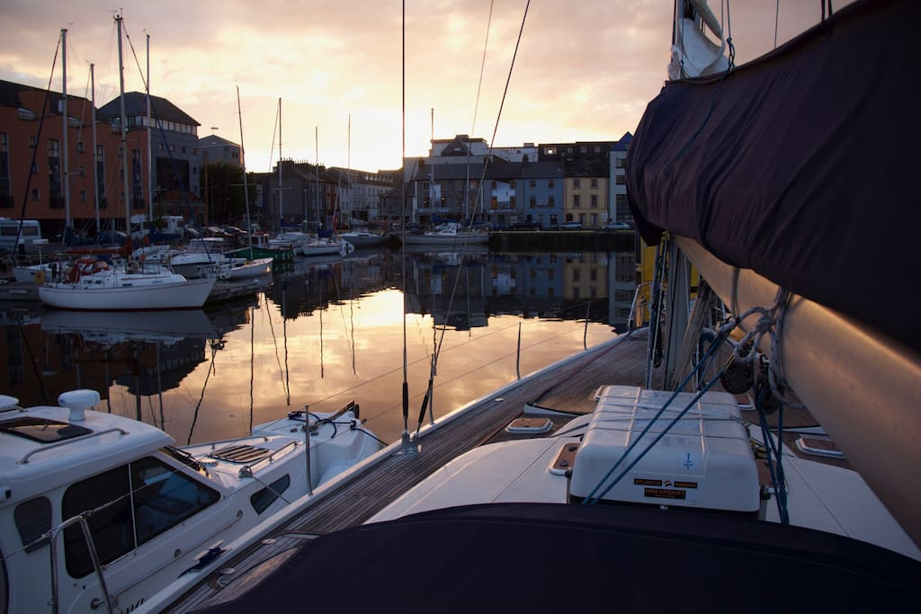 Sun set at Galway City Docks Marina from our berth