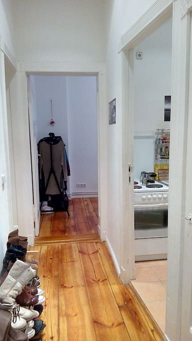Hallway (small room on the right w private washer and room to hang clothes to dry)