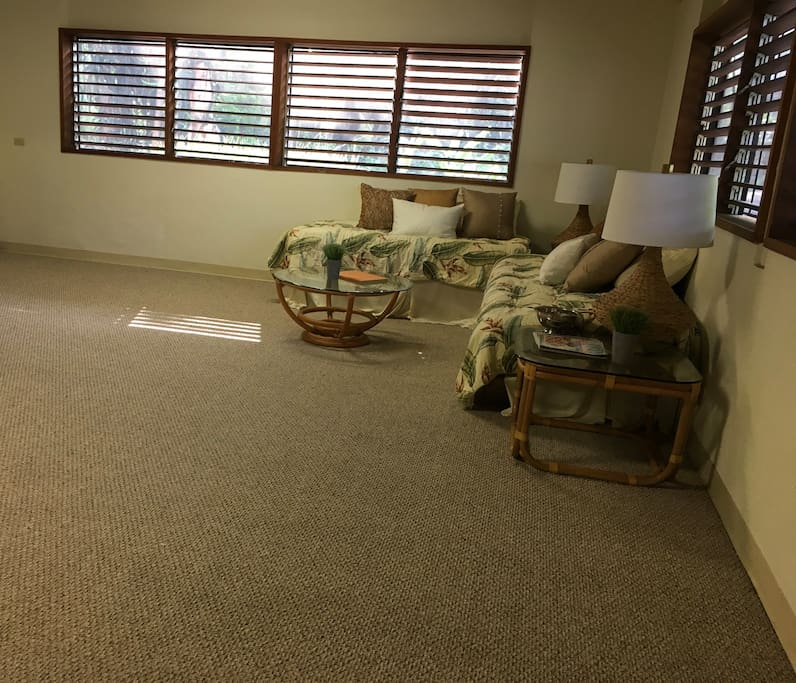 Living space 20'x20' being renovated. will have two comfortable futons.