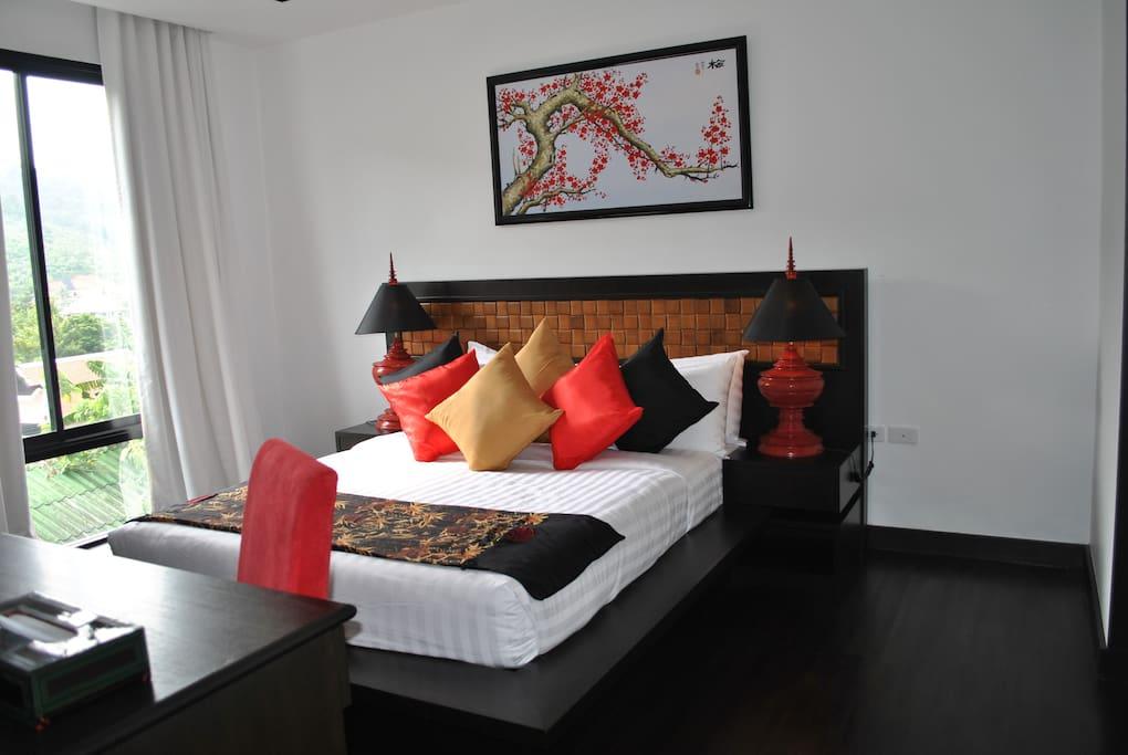 Dejligt soveværelse med de luxe seng