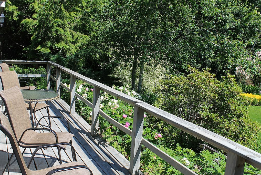 Front deck of cottage overlooks more gardens, and woods to the left of the expansive lawn.