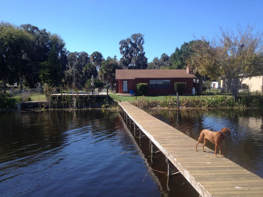 View of the home from the end of the dock.