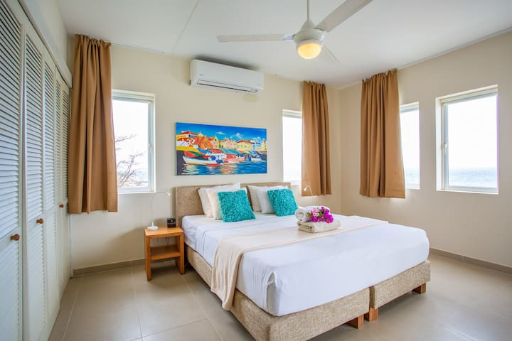 The master bedroom with king size bed with extra topper mattress, air conditioner, ceiling ventilator, mosquito screens for the windows, cabinet space, a safe and private bathroom.