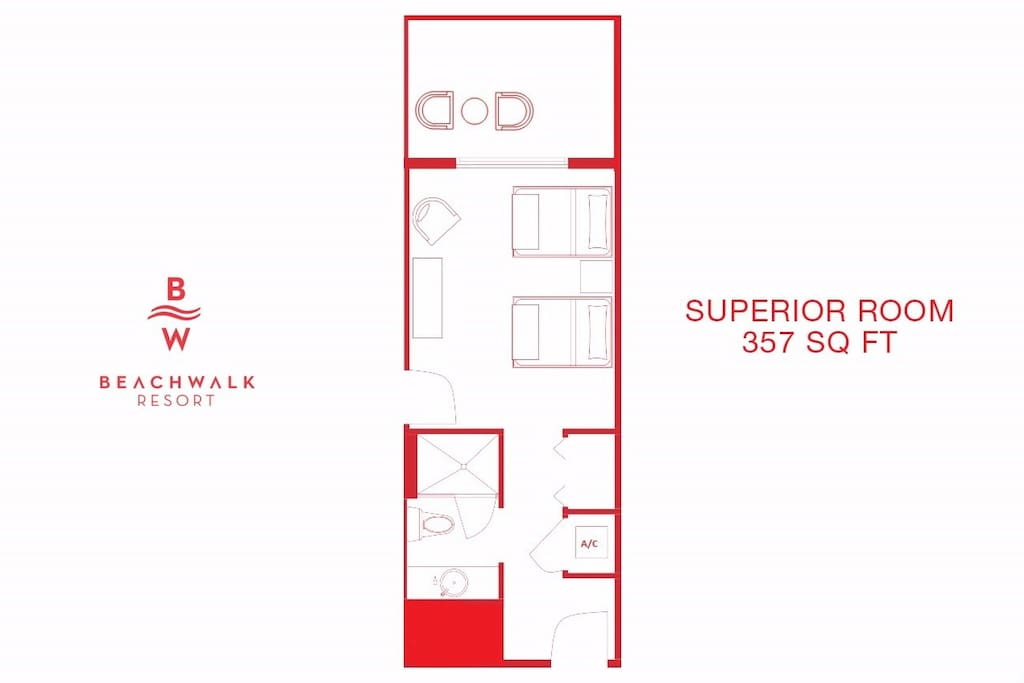 The superior room is 375 sq. ft. and offers plenty of space for your holiday.