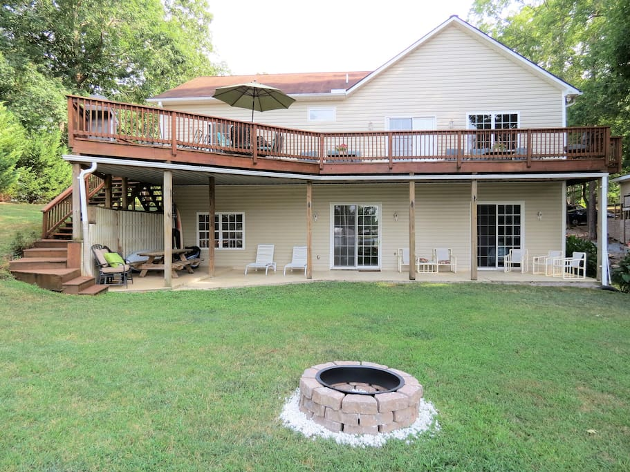 Exterior Facing the Water & Firepit