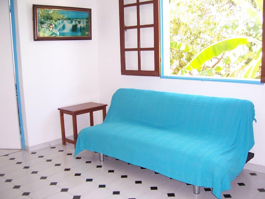Canapé lit pour vos amis dans cette pièce très éclairée