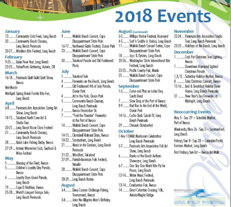 2018 Peninsula Events Calendar