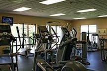 The sports & fitness center has various exercise equipment.  Activities including tennis, pickle ball, horseshoe, basketball, air hockey, arcade games, ping-pong, bike rentals, and aerobic classes (Zumba; Pilates; Sare available depending on the season.