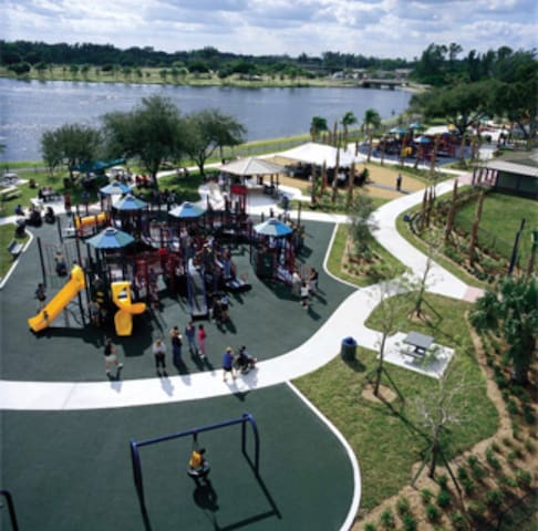 The large John Prince Park- 3 playgrounds, a small splash park, volley ball, tennis, basketball, boating, fishing, pavilion, and more. Estimated 2 1/2 miles from the house.  (not fully pictured)