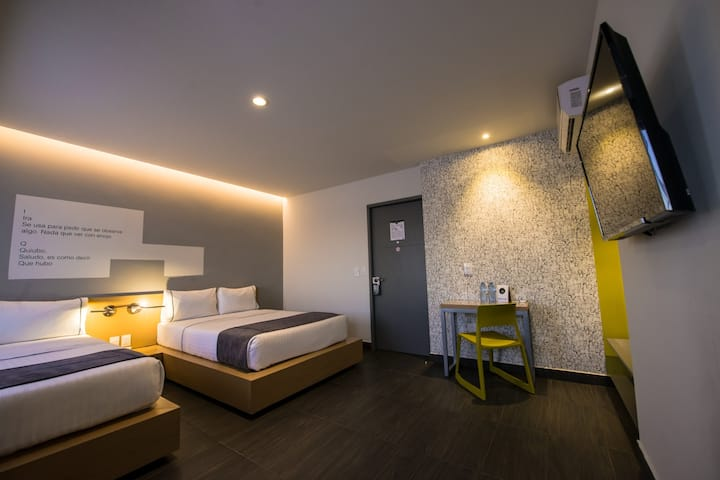 Astonishing Double Two Double Beds At Guadalajara Centro