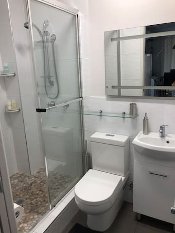 Spacious 2 person shower, toilet and basin (toiletries provided)