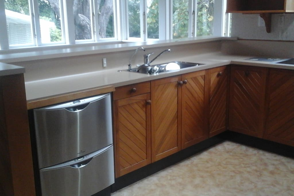 spacious kitchen with double dish drawer and Westinghouse double oven waste disposal and water filter.