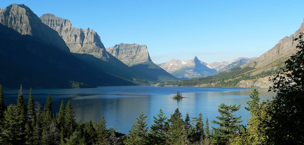 Iconic view along Going to the Sun Road, St. Mary Lake - Glacier National Park.  This is on the east side of the park.