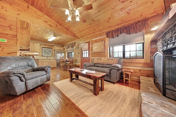 Dog-friendly, rustic home w/ mountain views, wrap-around deck, & stone fireplace