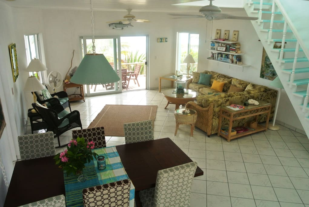 Open living room and Dining ...beach front living!