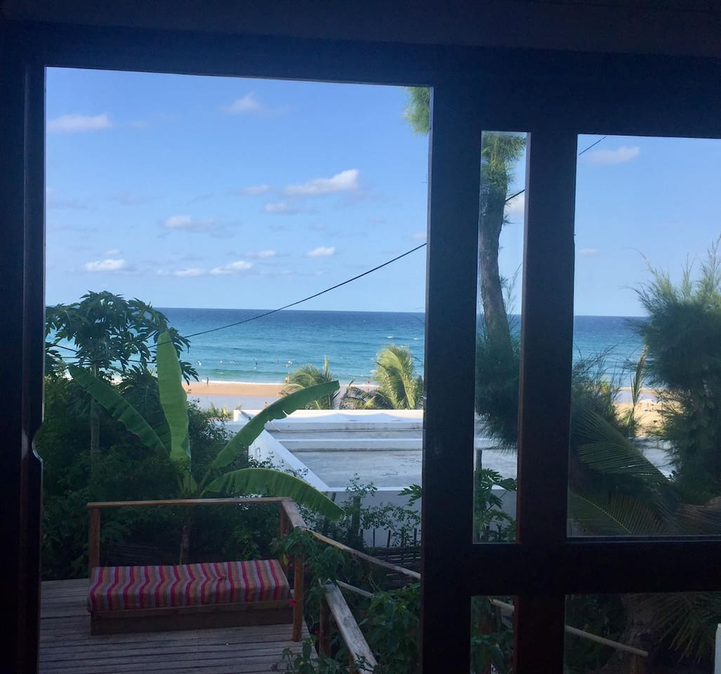 Tofo beach view from bed