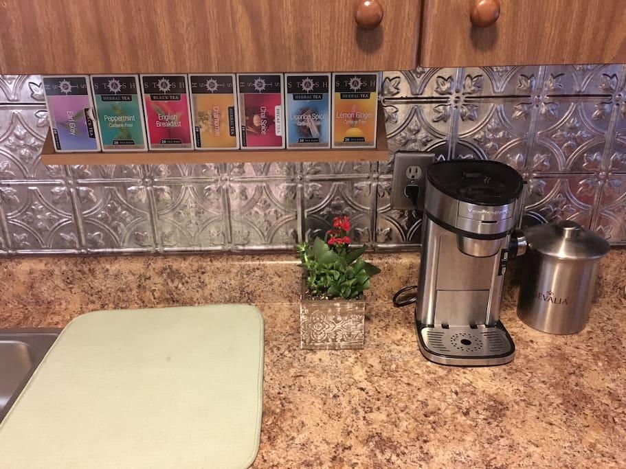Enjoy an assortment of tea and coffee