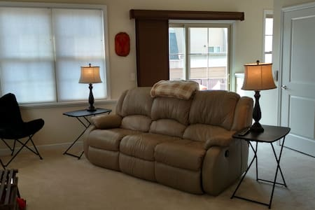 Suite with rooftop patio and living room. - Glen Allen