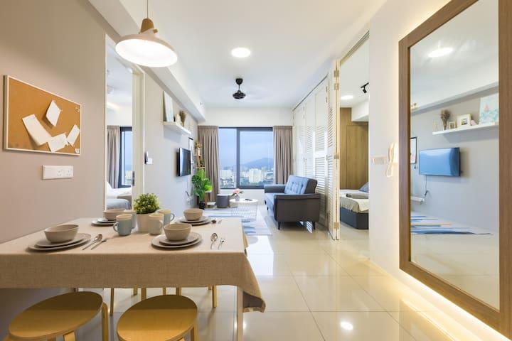 Sparkling City View 2BR Suite*Georgetown 乔治市中心清新套房