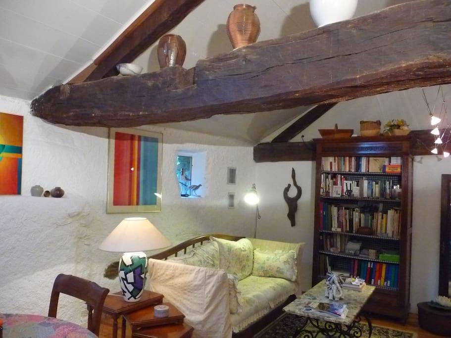 Le coin salon avec ses vielles poutres , peintures modernes et céramiques , une bibliothèque aux centres d'intérêts variés .