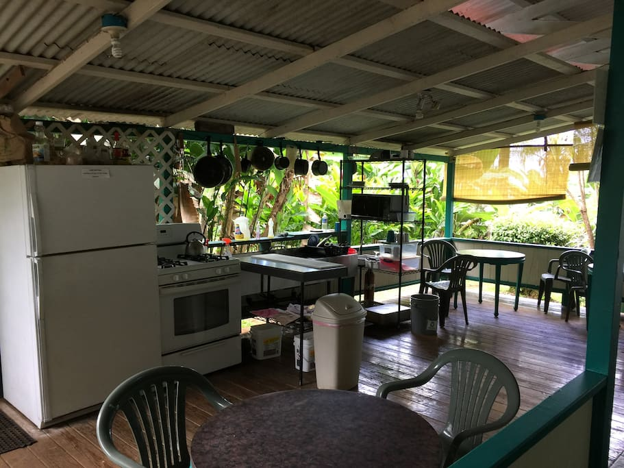 Shared outdoor and indoor kitchen available 8am to 8pm