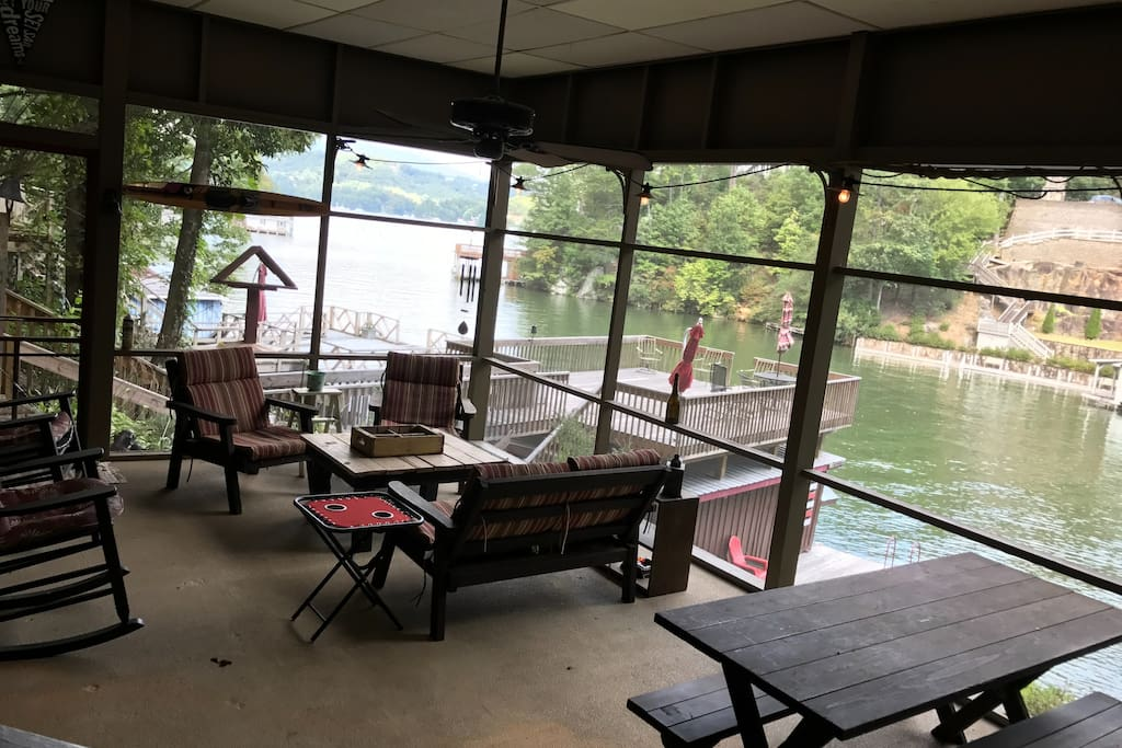 Enjoy the comfort of outdoor dining and relaxing, rain or shine on the screened patio