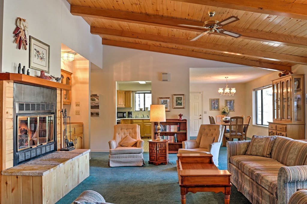 Warm your toes by the gas fireplace in the cozy living area.