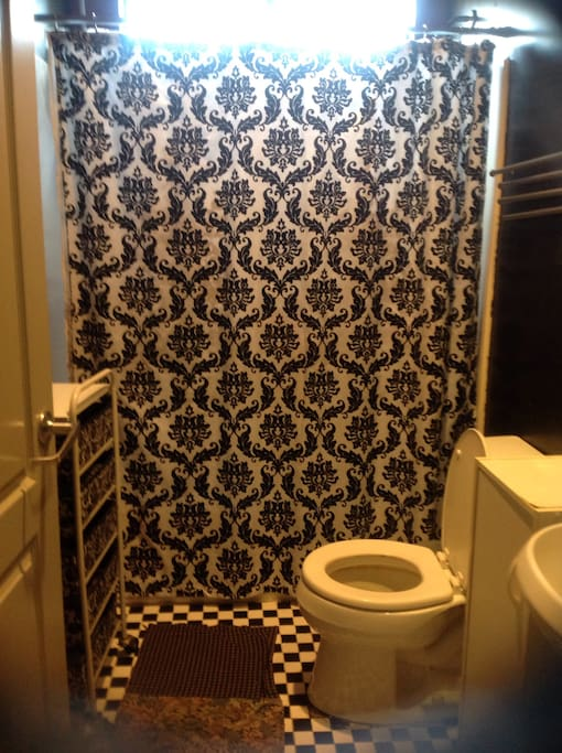 Retro bathroom with shower. This bathroom changes decor constantly.