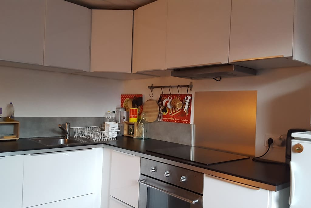 Modern kitchen with cooker, microwave, fridge/freezer