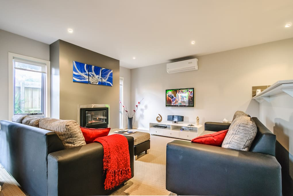 Beautiful main living area with gas fire place for the cool nights and airconditioner for the warm ones.