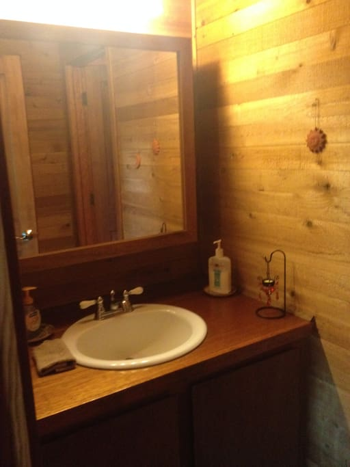 "Semi private bathroom with ""The Lovers"" room"