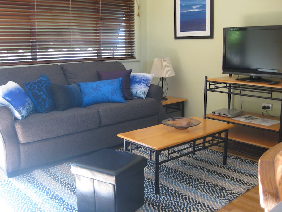 Spacious Living Room with large TV and DVD Player