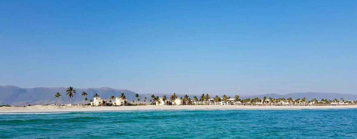 4 Beach Villas with the Rotana Resort further to the right Villa 2 is the first on the right