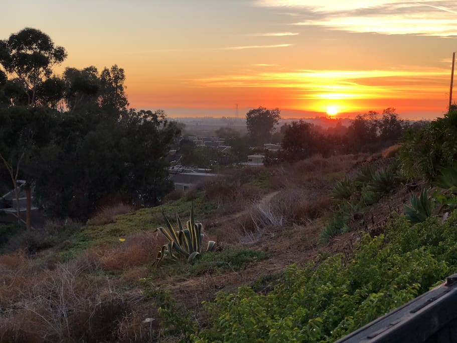 Sunset and ocean view from trails in backyard