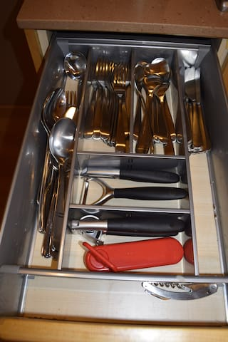 Left of stove - top drawer.  Silverware service for 8.