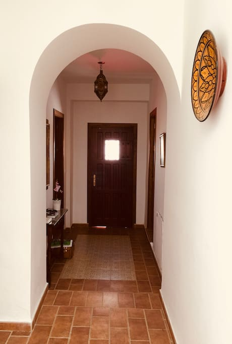 Hallway with a Moroccan tiled carpet
