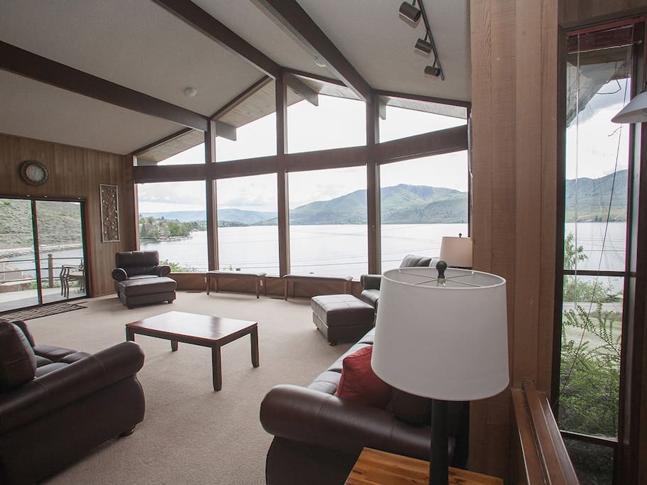 Beautiful views of Lake Chelan from the wall of windows in this vacation home