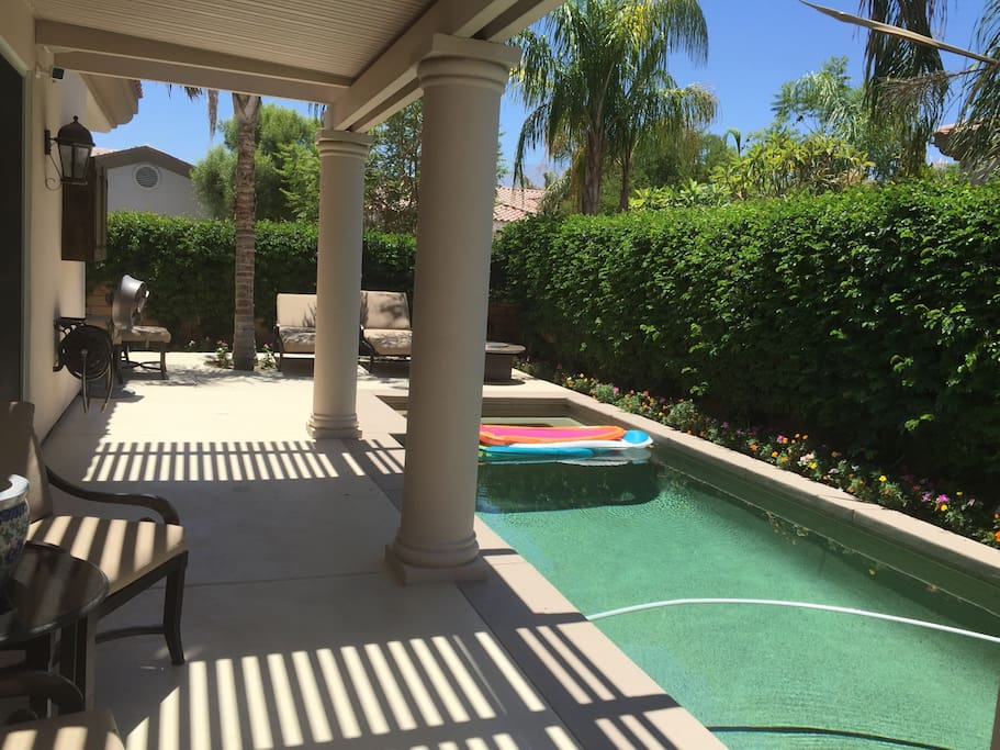 Pool area has out door speakers,TV,  pool flotations for lounging in the totally private back yard