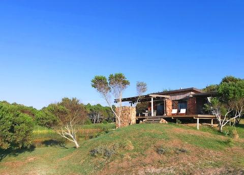 Beautiful waterfront beach house.