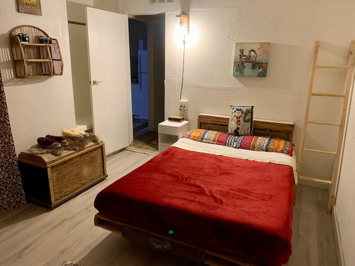 Private room in small, friendly, shared house.