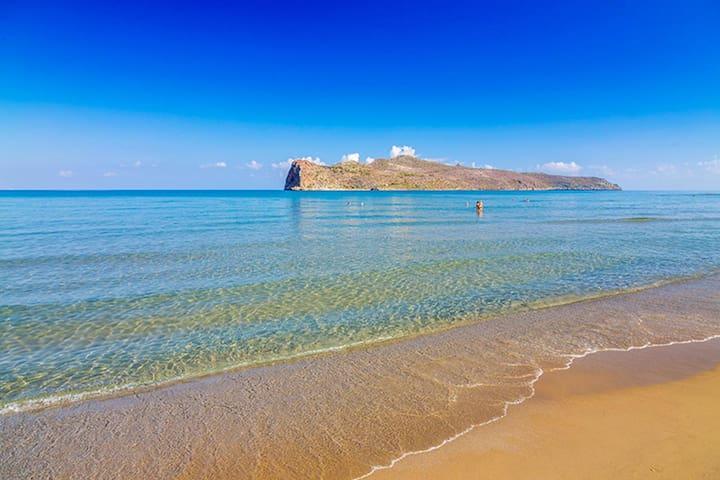 The beach of Agia Marina, 4.4km from the villa