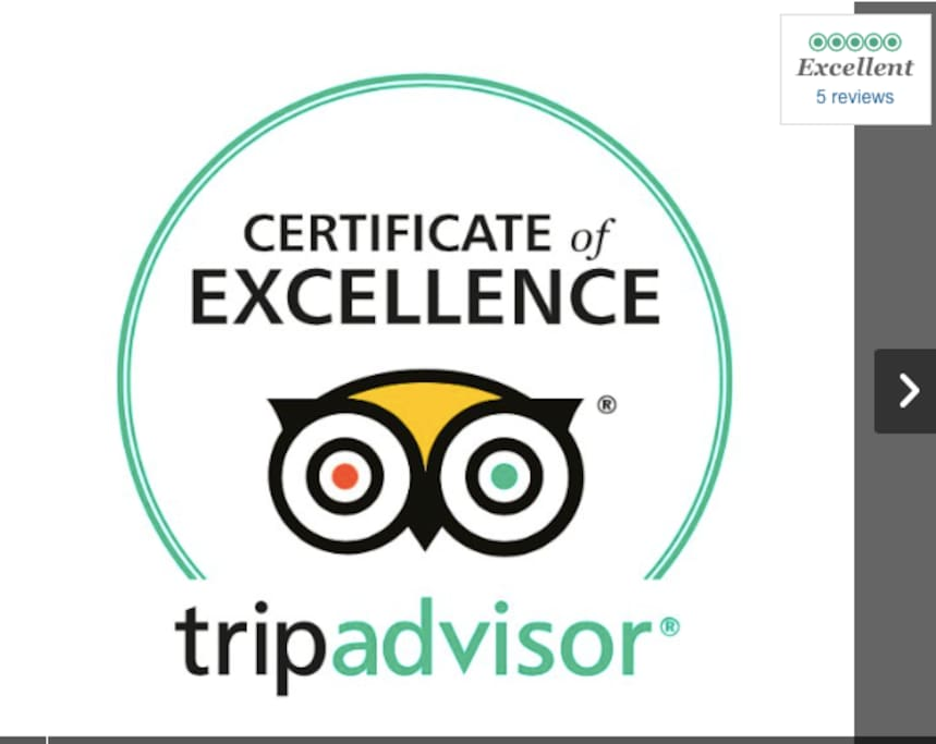 TripAdvisor Certificate of Excellence numerous 5Star Reviews